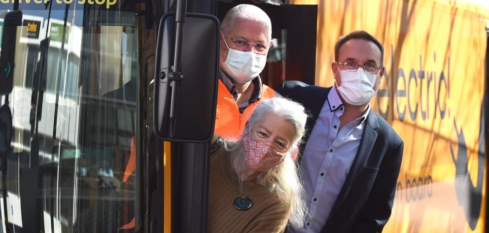 Trying Go Bus Dunedin's new electric bus are (clockwise, from front) Otago Regional Councillor Alexa Forbes, GoBus chief operating officer Nigel Piper and Electric Bus executive vice president Mike Parker. PHOTO: GREGOR RICHARDSON