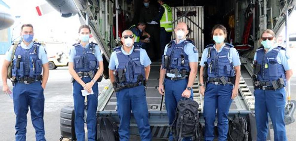 Canterbury police staff about to board at Christchurch. Photo: NZ Police