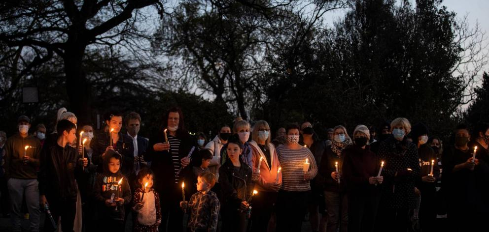 Several hundred people attended the vigil in Timaru on Thursday night. Photo: George Heard