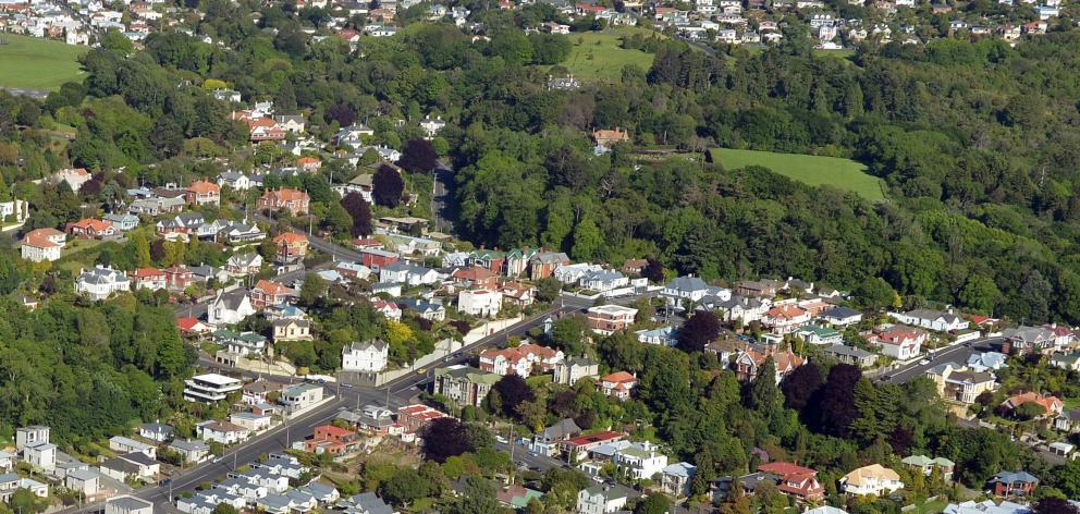 Aerial shot of High Street, Dunedin. Photo: Stephen Jaquiery