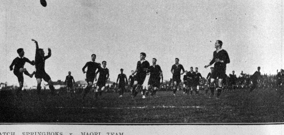 The visiting Springboks play the Maori team on September 7, 1921. — Otago Witness, 20.9.1921