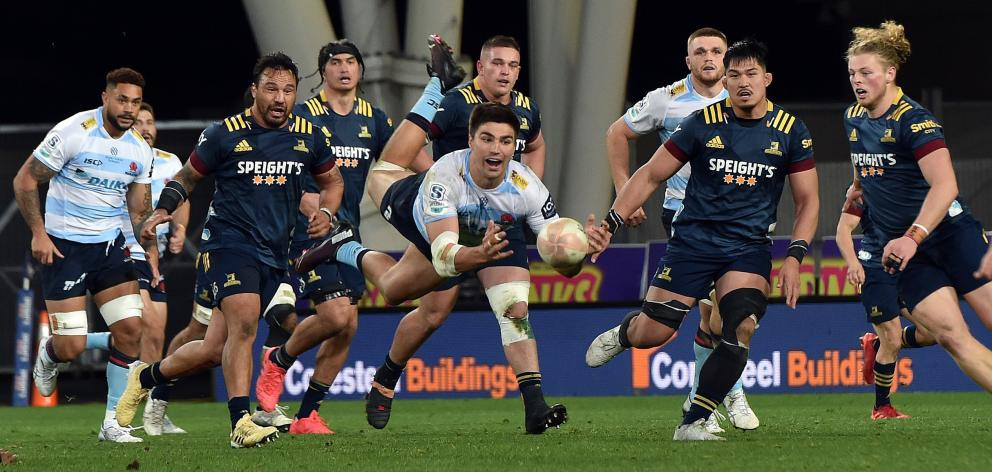 The Highlanders in action against the Waratahs during the Super Rugby competition. PHOTO: PETER...