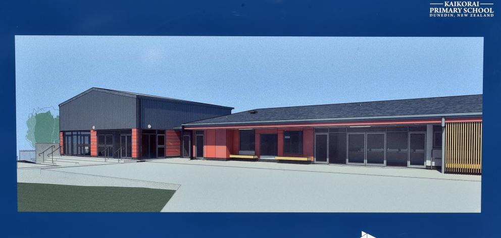 An image of a block of five classrooms and the new school hall, which will be built in its place.