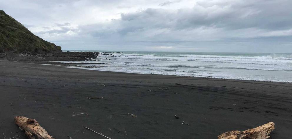 This is where Thomas Phillips' vehicle was found on Kiritehere beach. Photo: Belinda Feek