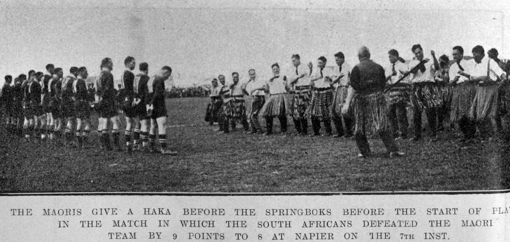 The Maoris give a haka for the Springboks before the start of play in which South Africa defeated...