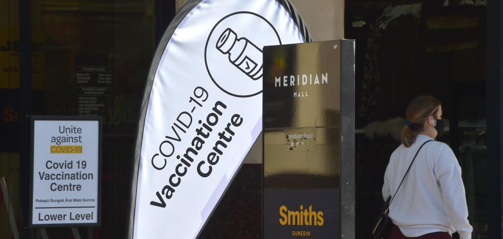 The Meridian Covid-19 vaccination centre in Dunedin yesterday. PHOTO: GREGOR RICHARDSON