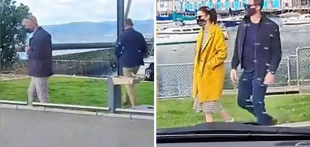 Two women eating burgers wanted to know why there were security uncles walking near the waterfront. Seconds later they got their answer. Photo / TikTok