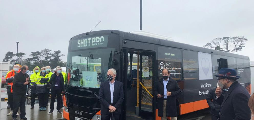 Phil Goff and Willie Jackson at the Covid bus launch. Photo / RNZ