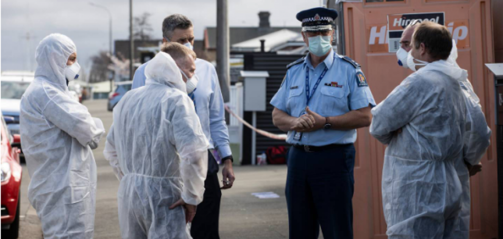 Police at the scene of where three young girls were found dead in Timaru. Photo: NZ Herald