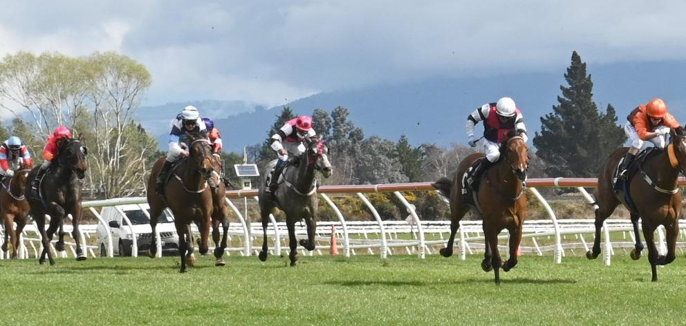 Rohan Mudhoo rides So Much Mour (second from right) to win the opening race at Wingatui yesterday...