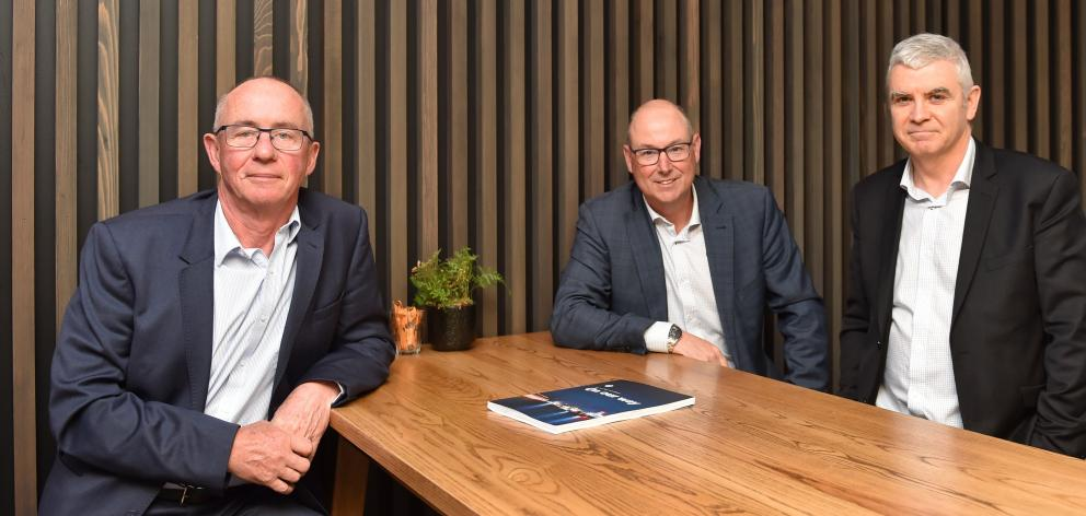 Strong result . . . Port Otago's chairman Paul Rea (left), chief executive Kevin Winders and...