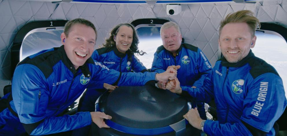 Star Trek actor William Shatner (third left) flew with Audrey Powers, Chris Boshuizen and Glen de...