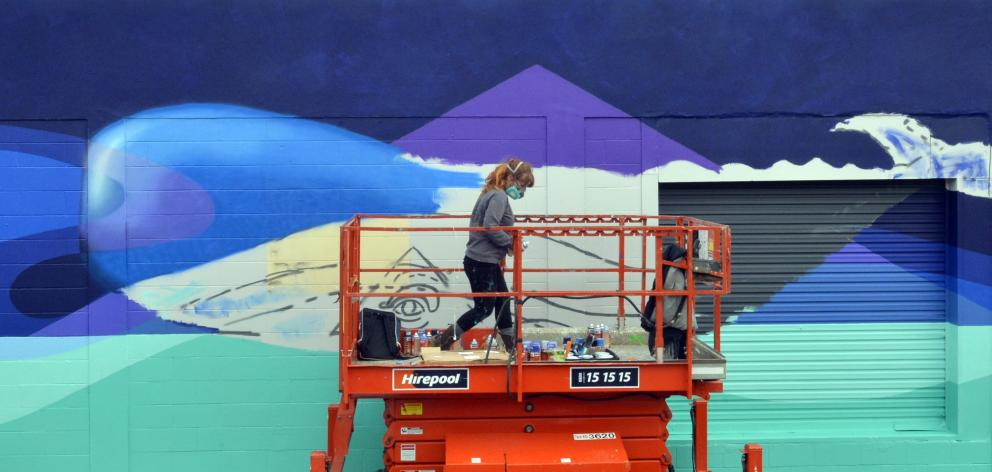 Kelly Spencer of the Wellington's Honey Badgers Creative Studios with her mural in Roberts St. Photo: Gerard O'Brien