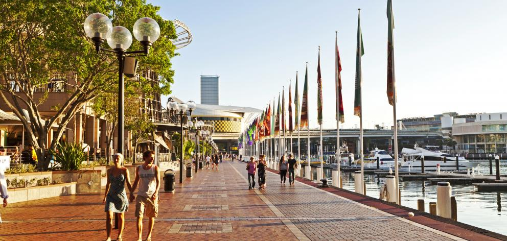 A view along the waterfront at Darling Harbour, Sydney. Photo: Getty Images