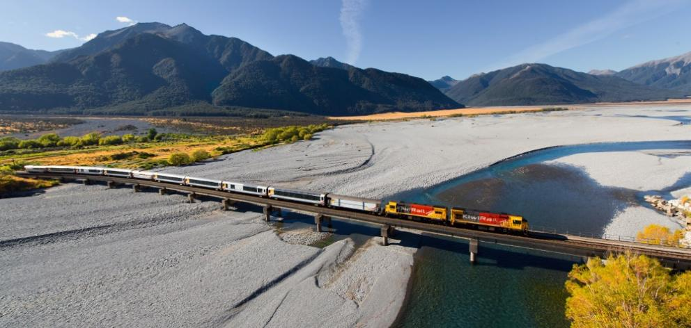 The TranzAlpine crossing the Waimakiriri River. Photo: KiwiRail