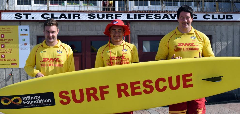 St Kilda Surf Life Saving Club head lifeguard Conall Duncan,  senior lifeguard Jackson Aluesi ...