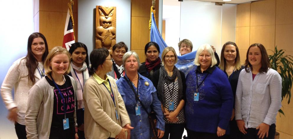 Members of the Presbyterian Women Aotearoa NZ delegation to CSW61 (from left) Chiquita Holden,...