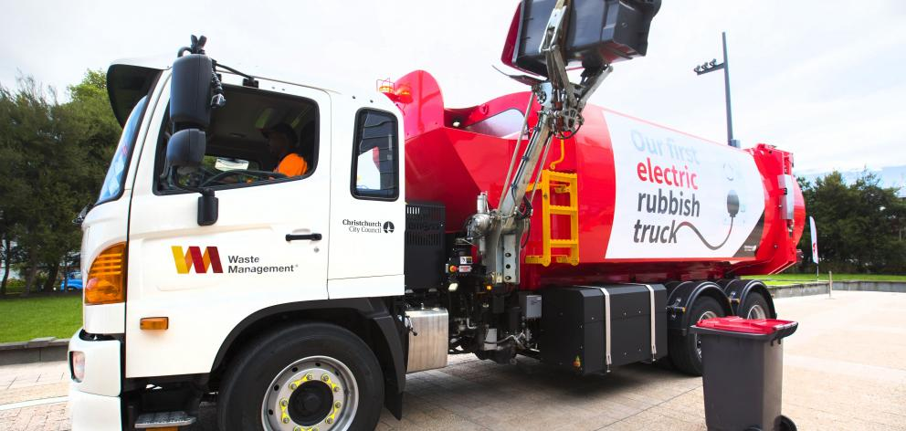 One of Waste Management's electric rubbish trucks. PHOTO: SUPPLIED