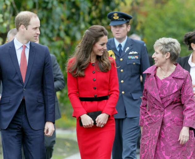 Prince William, Duke of Cambridge, Catherine, Duchess of Cambridge, and Mayor Lianne Dalziel at...