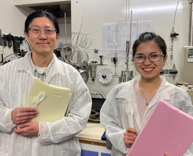Dr Heon Park and PhD student Lilian Lin with examples of the materials they're studying. Photo: UC