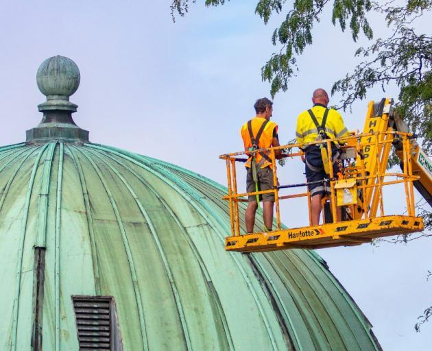 Contractors work on the Thomas Edmonds Band Rotunda on the banks of the Avon River. Photo:...