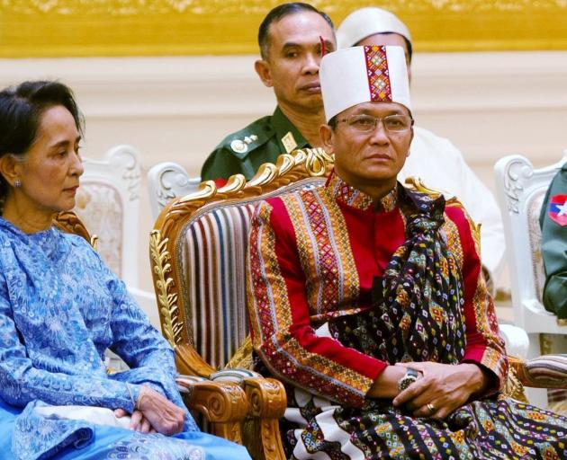 State Counsellor Aung San Suu Kyi (left) with Vice-President Henry Van Thio. Photo: Reuters