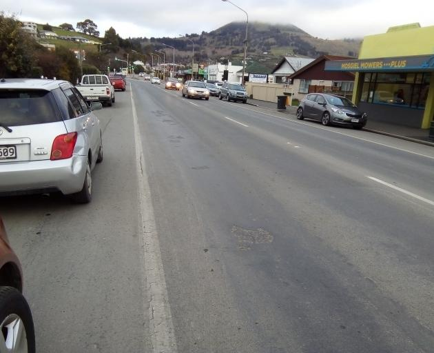 Road works which will disrupt Mosgiel's main street for six weeks. Photo: ODT