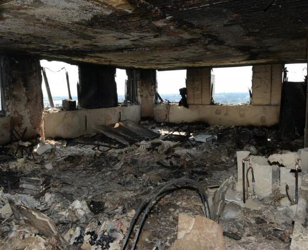 One of the many gutted apartments in Grenfell Tower. Photo: Metropolitan Police/Reuters