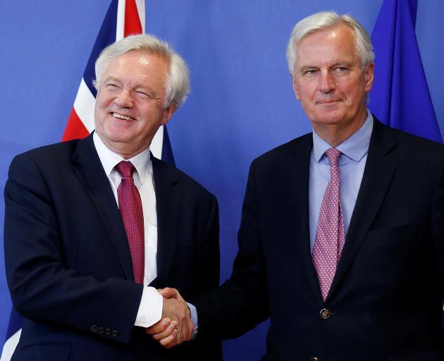 David Davis (left) and Michael Barnier. Photo: Reuters
