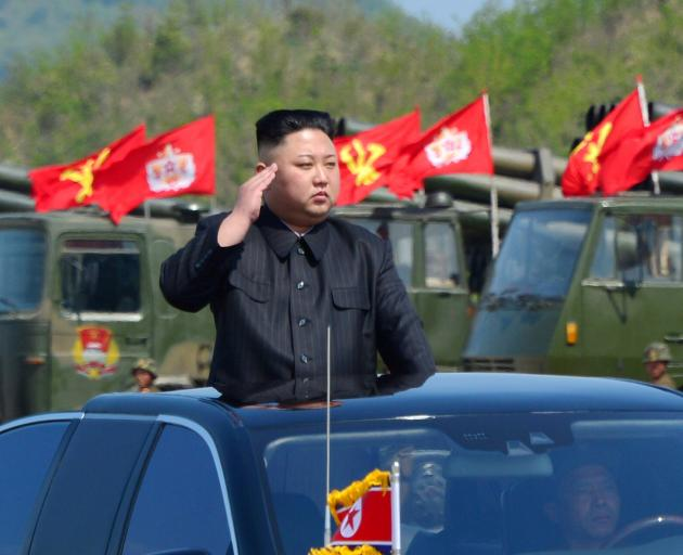 North Korea leader Kim Jong Un at a military drill earlier this year