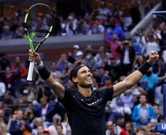 Rafael Nadal celebrates his victory at Flushing Meadows in New York. Photo: Reuters