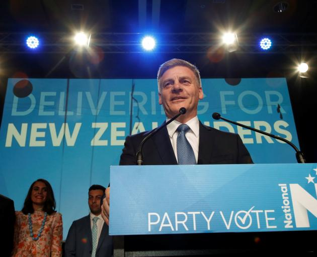 Bill English speaks to supporters in Auckland on election night. Photo: Reuters