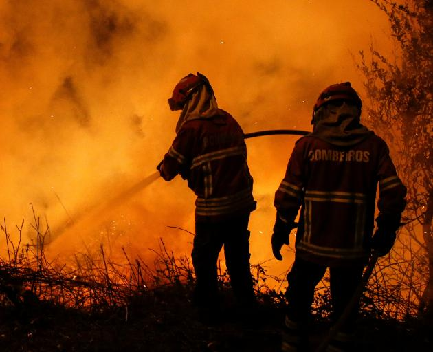 Firefighters work to extinguish flames from a forest fire in Cabanoes near Lousa in Portugal. Photo: Reuters