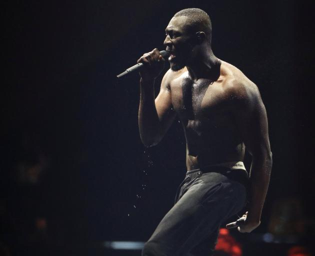 Stormzy performs at the Brit Awards at the O2 Arena. Photo: Reuters