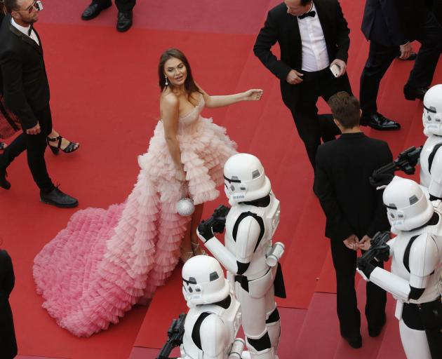 Star Wars' Stormtrooper characters are seen on the red carpet as guest arrives. Photo:Reuters