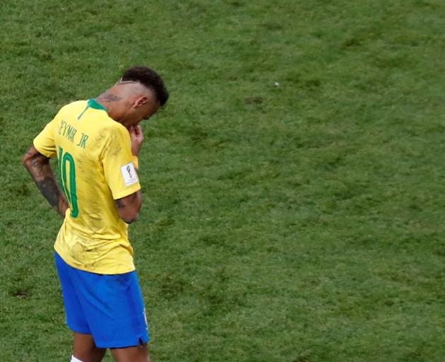 A dejected Neymar after the match. Photo: Reuters