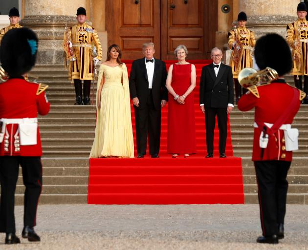 Donald Trump with First Lady Melania Trump (left) with Theresa May and her husband Philip. Photo:...