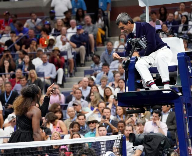 Serena Williams argues with chair umpire Carlos Ramos during the US Open final. Photo: Reuters
