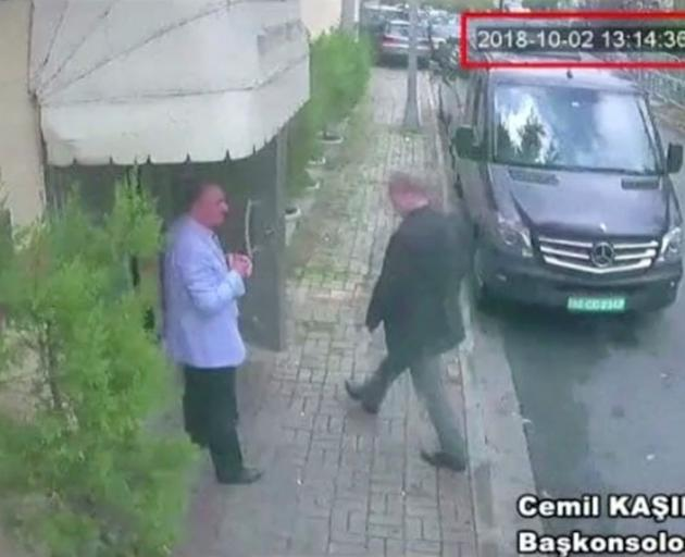 A still image taken from CCTV video and obtained by TRT World claims to show Saudi journalist...