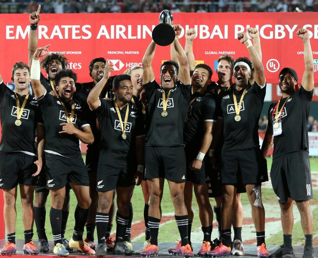 The Kiwis celebrate winning the final in Dubai. Photo: Reuters