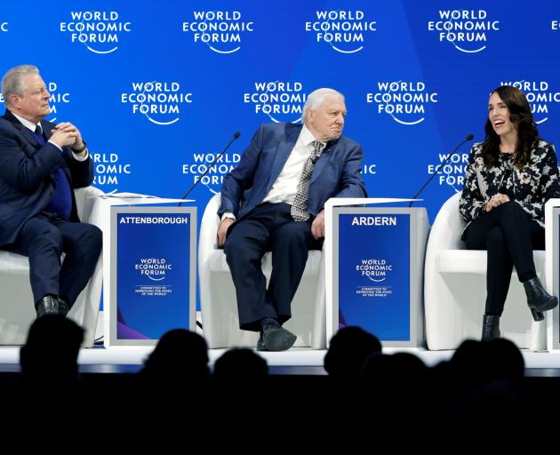 Climate Reality Project chairman Al Gore (left), naturalist Sir David Attenborough and New...