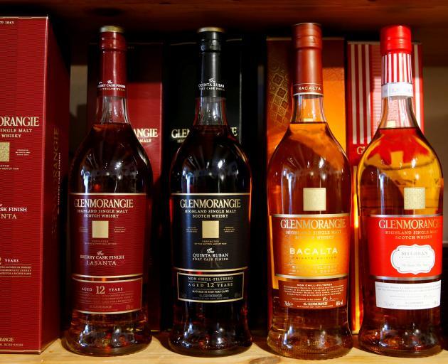 Bottles of single malt scotch whisky Glenmorangie, part of Glenmorangie plc co-owned by LVMH and...