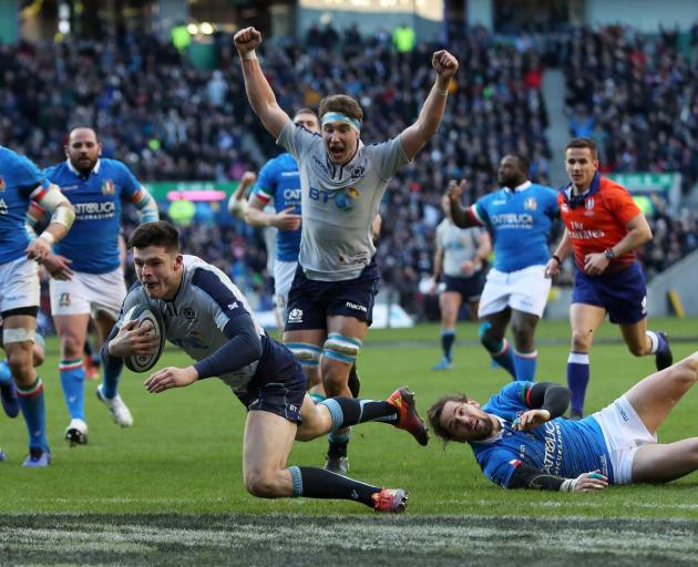 Blair Kinghorn scores Scotland's fourth try to complete his hat-trick. Photo: Action Images via...