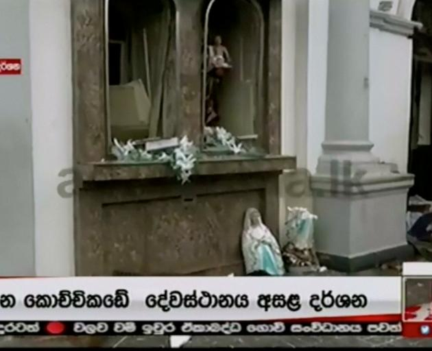 Damage is seen at St Anthony's church after explosions hit churches and hotels in Colombo. Photo...