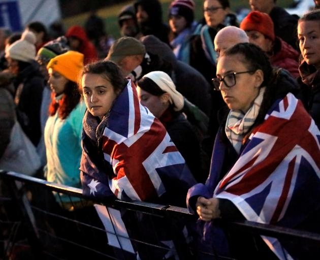 Australians and Kiwis at today's ceremony at Anzac Cove. Photo: Reuters