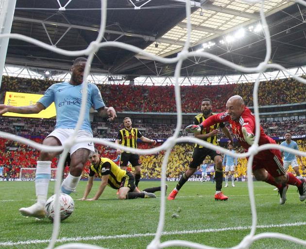 Manchester City's Raheem Sterling fittingly finished things off with his third goal. Photo: Reuters