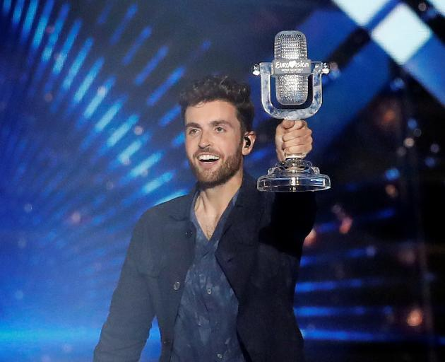 Duncan Laurence celebrates his win at the contest in Tel Aviv. Photo: Reuers