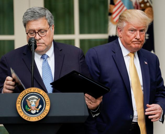 President Donald Trump (right) with Attorney General Bill Barr at the White House. Photo: Reuters