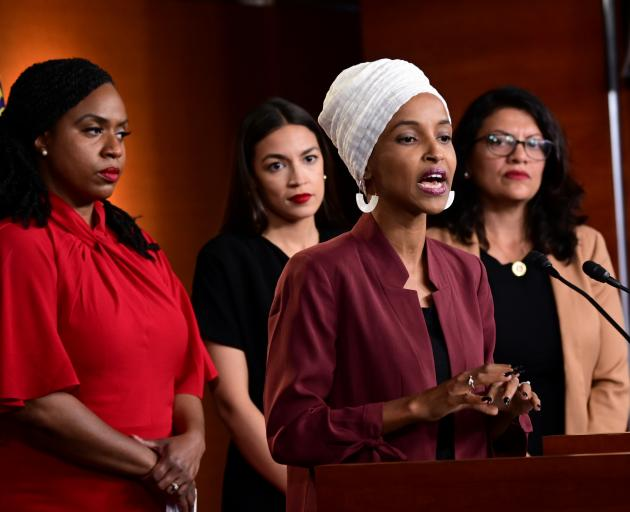 All four lawmaker (from left) -  Ayanna Pressley, Ilhan Omar, Alexandria Ocasio-Cortez and...