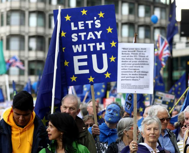 Anti-Brexit protesters in London on Saturday. Photo: Reuters